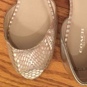 Coach Flat Sandals, Silver